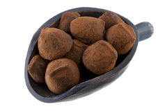 Scoop of chocolate truffles Stock Image