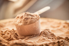 A scoop of chocolate whey isolate protein. Whey protein scoop. Sports nutrition Royalty Free Stock Images