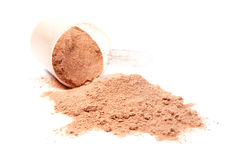 A scoop of chocolate whey isolate proteinon white Stock Photos