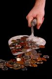 Scoop with coins. Construct your happiness Stock Images