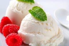 Scoop of creamy ice cream with raspberries Royalty Free Stock Images