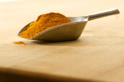 Scoop with curry on a cutting board Royalty Free Stock Image