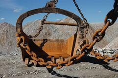 Scoop of dragline. In open cast mining quarry Royalty Free Stock Images