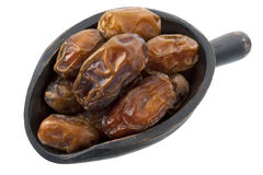 Scoop of dried medjool dates stock photography