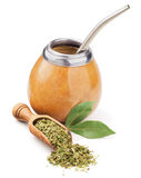Scoop with dry mate tea and calabash Stock Photography