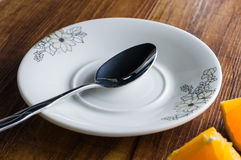 Scoop dish. Scoop in the empty dish Royalty Free Stock Images