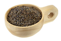 Scoop of French green lentils Stock Photo