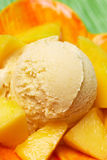 Scoop of fresh mango ice cream Royalty Free Stock Photo