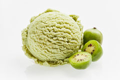 Scoop of green hardy kiwifruit ice cream royalty free stock photos