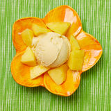 Scoop of homemade mango ice cream Royalty Free Stock Photography