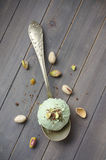 Scoop of homemade pistachio ice cream with chopped pistachios and chocolate Stock Images