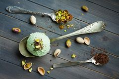 Scoop of homemade pistachio ice cream Royalty Free Stock Photo