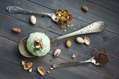 Scoop of homemade pistachio ice cream Stock Photos