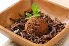 Scoop of ice cream and chocolate shavings Stock Photo