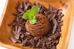 Scoop of ice cream and chocolate shavings Stock Photography