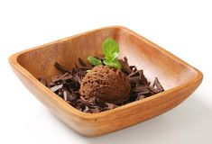 Scoop of ice cream and chocolate shavings Stock Image