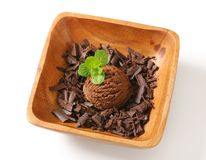 Scoop of ice cream and chocolate shavings Stock Image