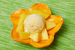 Scoop of mango ice cream Stock Image