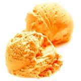 Scoop of Mango ice cream isolated on white background. Ball of O Stock Image