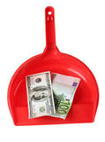 Scoop and money. Color photo of a red scoop and paper money Stock Photos