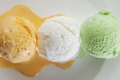 Free Scoop Of Delicious Real Fresh Ice Cream In Mango, Vanilla And Pistachio Flavour. Royalty Free Stock Image - 42956386