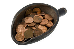 Scoop of pennies - money concept Royalty Free Stock Photography