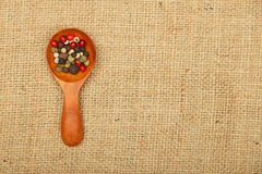 Scoop of peppercorn on burlap canvas Royalty Free Stock Image