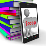 Scoop Phone Means Exclusive Information Or Inside Story Royalty Free Stock Image