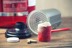 scoop of protein powder royalty free stock photos