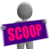 Scoop Sign Character Displays Gossipmonger Or Intimate Tatter Royalty Free Stock Image