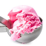 Scoop of Strawberry Ice Cream isolated over white, close up. Fru Stock Photos