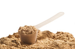 Scoop of whey protein on white background. Chocolate flawour Royalty Free Stock Photos