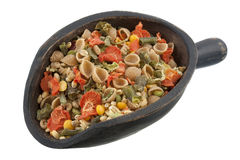 Scoop of whole wheat vegetable soup mix royalty free stock photos