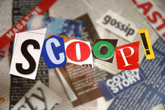 Scoop, written. With newspaper clippings Royalty Free Stock Images