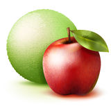 Scooped apple ice cream. Vector realistic ice-cream with red apple Royalty Free Stock Images