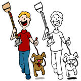 гулять scooper pooper человека удерживания собаки Стоковые Фото