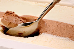 Scooping chocolate and vanilla ice cream Royalty Free Stock Image