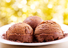 Scoops of chocolate ice cream Royalty Free Stock Photography