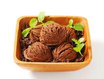 Scoops of chocolate ice cream Stock Photo