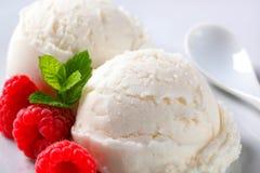 Scoops of creamy ice cream with raspberries Stock Image