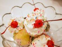 Scoops de crème glacée avec la cerise Photo libre de droits