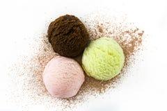 Scoops de crème glacée d'isolement Image stock