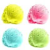 Scoops de crème glacée d'isolement au-dessus du fond blanc Photographie stock libre de droits