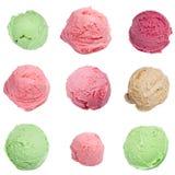 Scoops de crème glacée réglés Photo stock