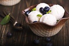 Scoops faits maison de glace à la vanille Image stock