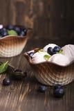 Scoops faits maison de glace à la vanille Photographie stock libre de droits