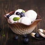 Scoops faits maison de glace à la vanille Photo stock