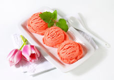 Scoops of fruit sherbet and fresh tulips. Scoops of pink ice cream and fresh tulips Stock Image