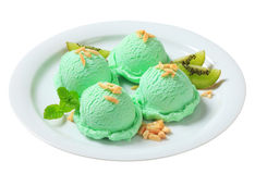 Scoops of green ice cream Stock Photography
