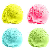 Scoops of ice cream isolated over white background. Royalty Free Stock Photography